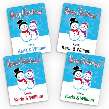 Snowman Family 2 Merry Christmas Small Gift Labels