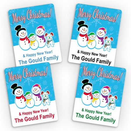 Snowman Family 3 and Doggy Merry Christmas Small Gift Labels