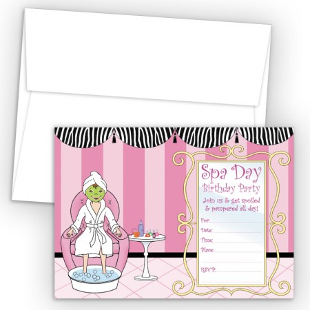Spa Day Fill-In Birthday Party Invitations