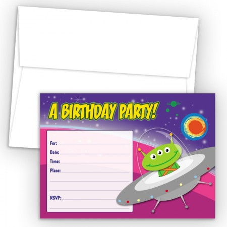 Space Ship Fill-In Birthday Party Invitations