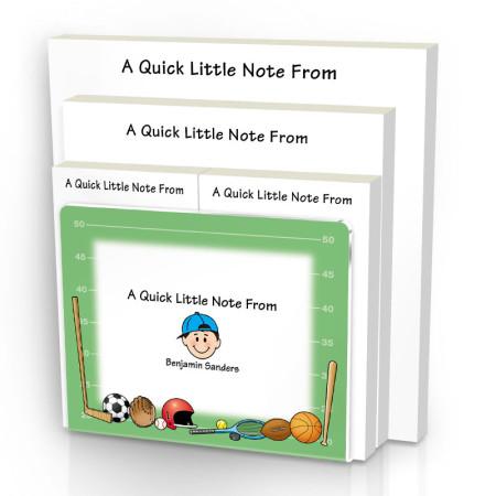 Sports Family Note Pad Set & Acrylic Holder