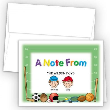 Sports Foldover Family Note Card