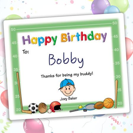 Sports Happy Birthday Gift Label