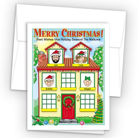 Spring House Merry Christmas Holiday Fold Note Head