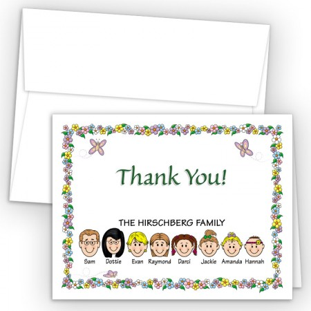 Springtime Foldover Family Thank You Card