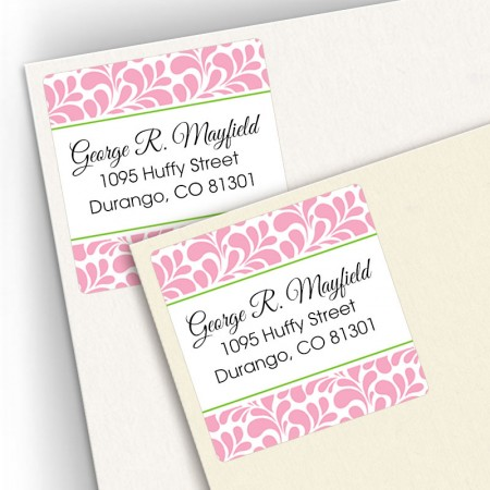 Pink Paisley Square Address Labels