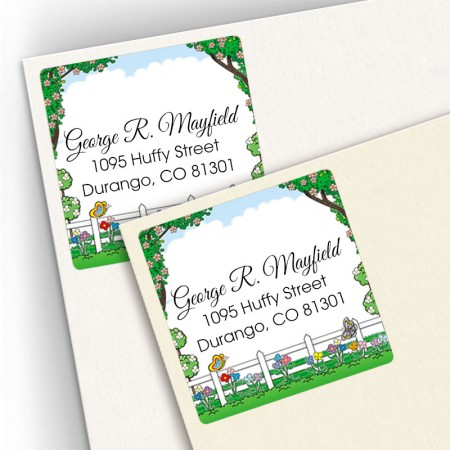 Picket Fence Square Address Labels