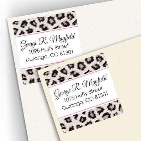 Snow Leopard Square Address Labels