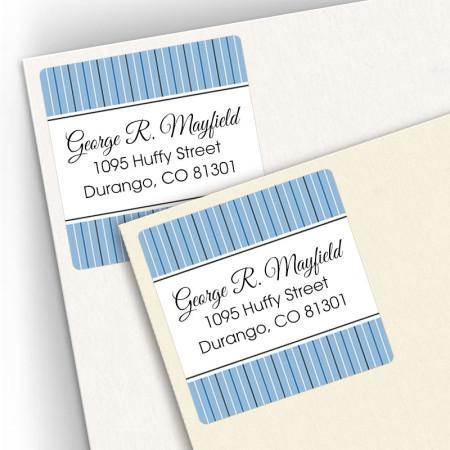 Blue Stripes Square Address Labels
