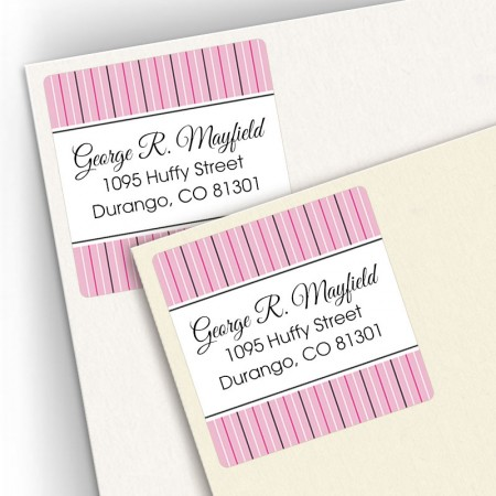 Pink Stripes Square Address Labels