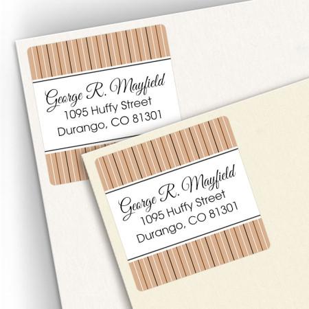 Tan Stripes Square Address Labels
