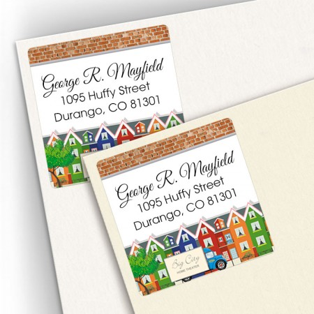 Colorful Houses Square Address Labels