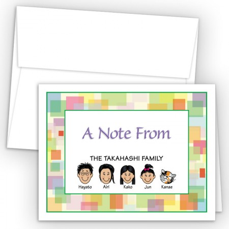 Squares Foldover Family Note Card