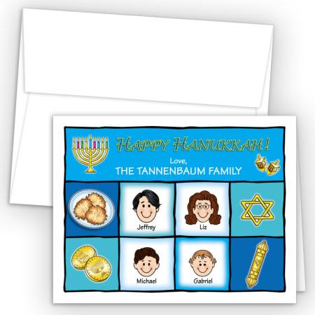 Squares Happy Hanukkah Holiday Fold Note Head