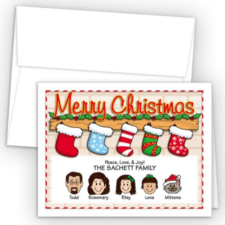 Stocking Merry Christmas Holiday Fold Note Head