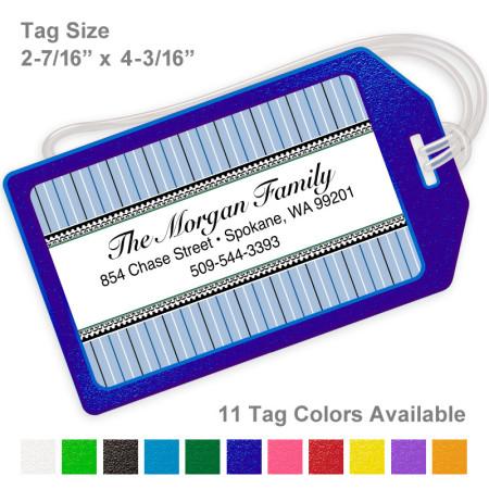 Stripes Blue Luggage Tag