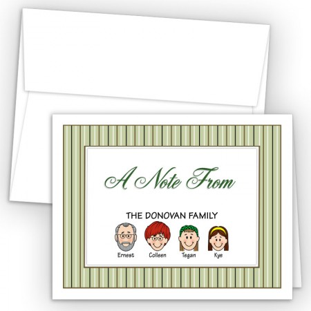 Stripes Foldover Family Note Card