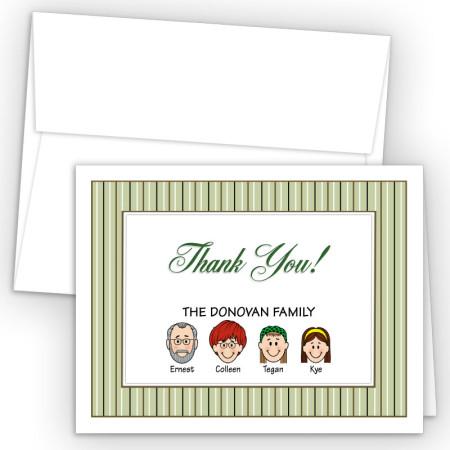 Stripes Foldover Family Thank You Card