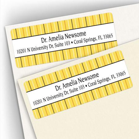 Stripes Gold Address Labels