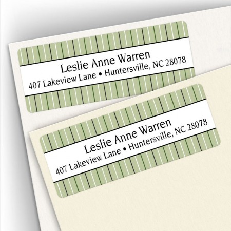 Stripes Green Address Labels