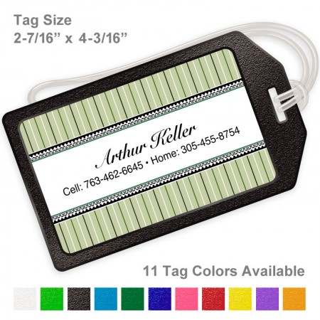 stripes-green-luggage-tag