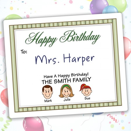 Stripes Happy Birthday Gift Labels
