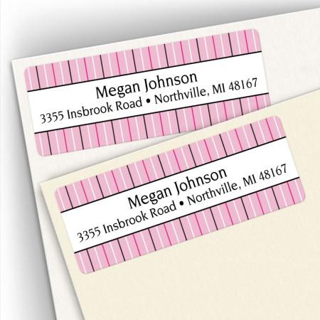 Stripes Pink Address Labels