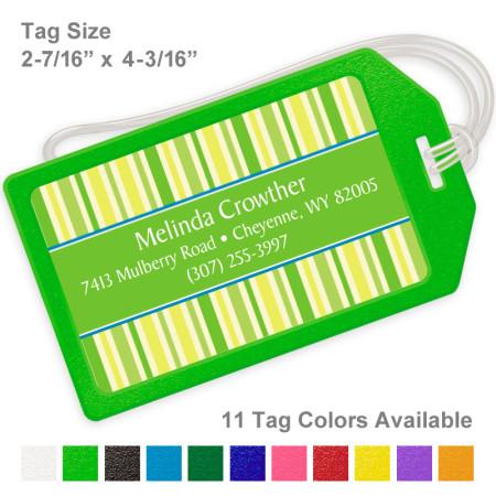 Stripes Random Lime Green Luggage Tag