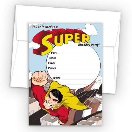 Super Hero Fill-In Birthday Party Invitations