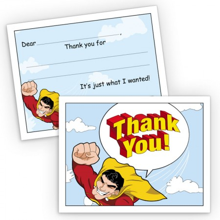 Super Hero Fill-In Thank You Cards