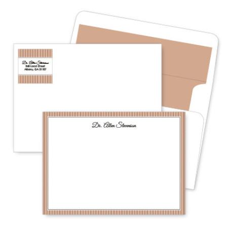 Tan Stripes Artistic Correspondence Card Ensembles