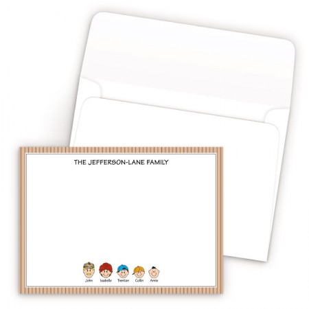 Tan Stripes Bordered Family Correspondence Card