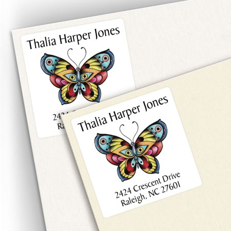 Tattoo Butterfly Square Address Labels