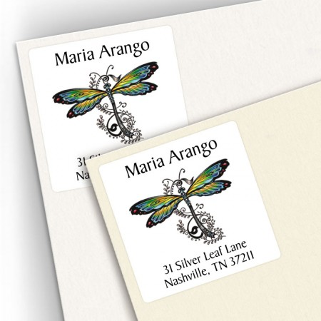 Tattoo Dragonfly Square Address Labels