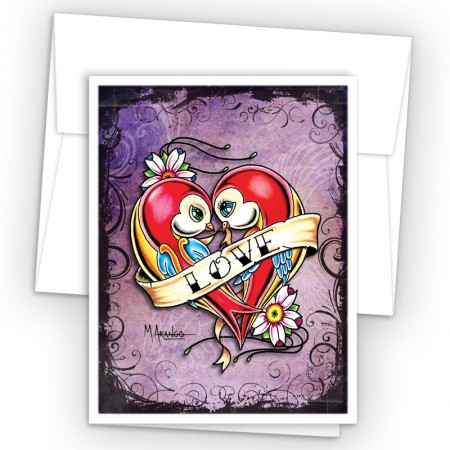 Tattoo Love Birds Note Cards