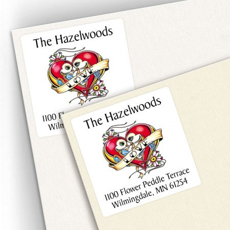 Tattoo Lovebirds Square Address Labels