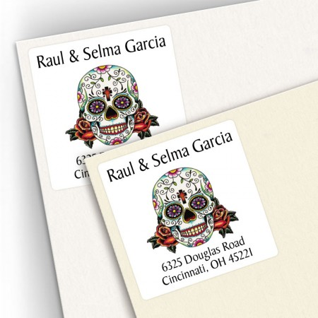 Tattoo Skull Square Address Labels