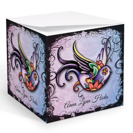 Tattoo Sparrow Memo Cube