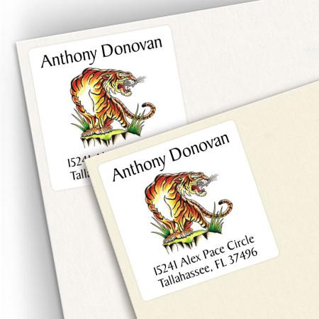 Tattoo Tiger Square Address Labels