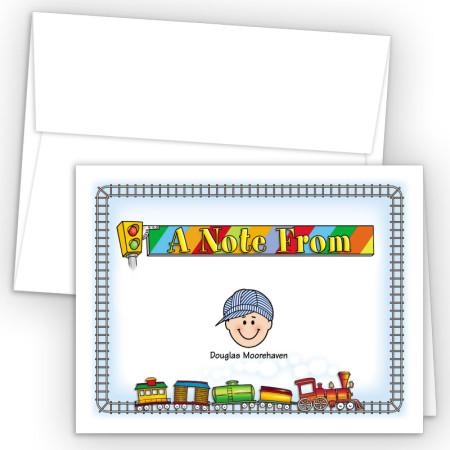 Train Foldover Family Note Card