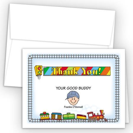 Train Foldover Family Thank You Card