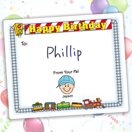 Train Happy Birthday Gift Label