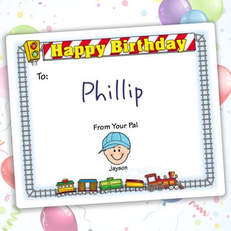 Train Happy Birthday Gift Label