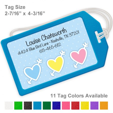 Triple Hearts Blue Luggage Tag