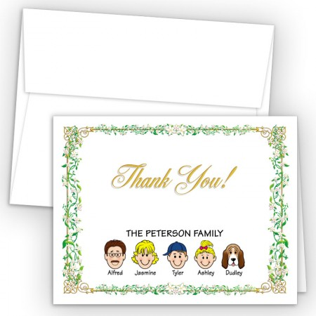 Vines Foldover Family Thank You Card