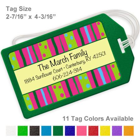 Vivid Neon Stripes Luggage Tag