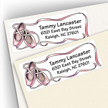 Watercolor Ballet Shoes Address Labels