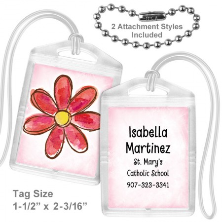 Watercolor Flower Red Mini Tag