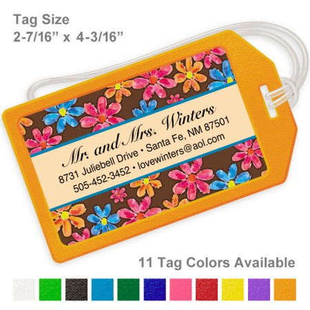 Watercolor Flowers Brown Luggage Tag