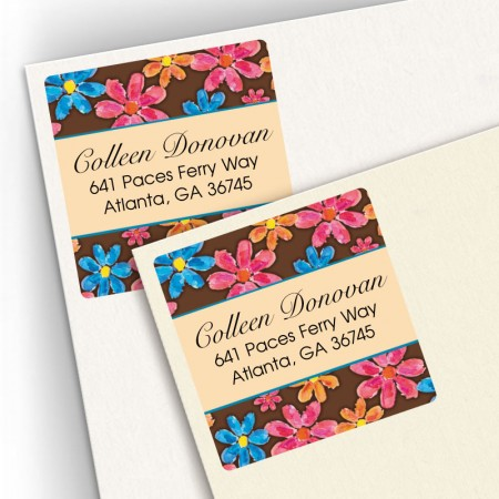 Watercolor Flowers Brown Square Address Labels